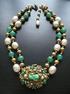 Vintage Miriam Haskell Baroque Pearl molded peking glass necklace | eBay