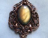Honey Drop - Labradorite and Copper pendant - unusual color