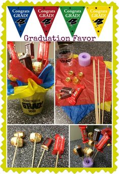 Graduation favor - very inexpensive! All you need is a pool noddle (which you can make about 20-25 favors) a bag of fun-sized chocolate bars and candies, a bag of graduation-decorated cups, craft/kabob sticks and tissue paper.