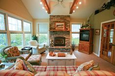 I would just LOVE a four-season porch with a fireplace!  A little different from this one, but you get the idea :)