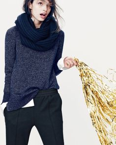 J.Crew women's Collection Lurex crewneck cashmere, slouchy pant, and chunky ribbed scarf. To preorder call 800 261 7422 or email verypersonalstylist@jcrew.com.