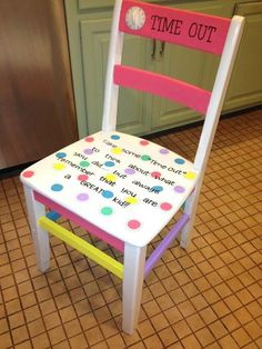 """Time Out Chair for the Classroom.... Take some """"time out"""" to think about what you did...but always remember you are a great kid."""