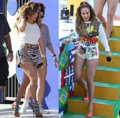 """Jennifer Lopez In Sachin + Babi, Milly & Emilio Pucci - """"We Are One (Ole Ola)"""" Music Video Shoot"""