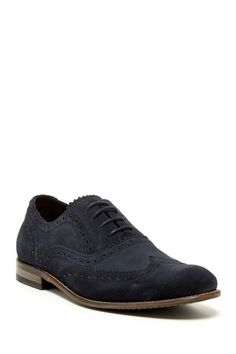 John Varvatos USA Sid Buck Wingtip Oxford in Midnight navy blue suede leather