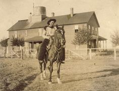 1900 horse ranch | COWBOY on Horse In Front of WESTERN RANCH House Photo Circa 1900