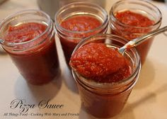 Home made pizza sauce, made from actual tomatoes not canned.
