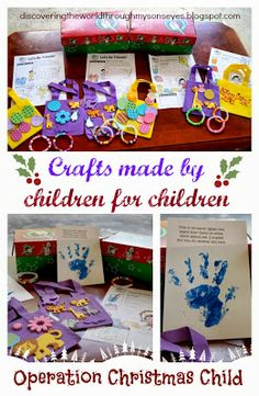 Discovering The World Through My Son's Eyes: Crafts Made by Children for Children {Operation Christmas Child} Christmas Child Shoebox Ideas, Operation Christmas Child Shoebox, Christmas Crafts For Kids, Christmas Diy, Diy For Kids, Gifts For Kids, Operation Shoebox, Samaritan's Purse, Christmas Gift Exchange