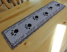 NAME YOUR PRICE Sale! Woof! Dog Paw Print Table Runner. Handcrafted, locker hooked rug by MeadowlarkNaturals, $125.00