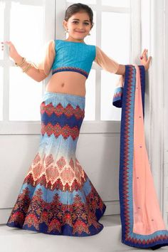 Blue Indian Designer Party Wear Silk Fabric Printed Lehenga Choli  #blue #indian #designer #festivewear #baby #lehenga #choli #saptrangi #gebastore