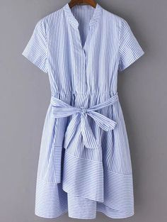 Striped Stand Neck Short Sleeve Belted Dress