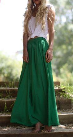 Bright maxi skirts.