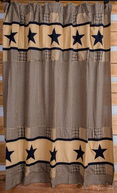 Our Jamestown Black shower curtain displays black and tan patchwork stars. It coordinates with our Jamestown Black quilted bedding. Primitive Shower Curtains, Primitive Bathroom Decor, Farmhouse Shower Curtain, Diy Bathroom Decor, Bath Decor, Bathroom Ideas, Primitive Decor, Rustic Decor, Western Decor