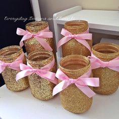 mason jar centerpiece, pink and gold baby shower, baby shower centerpiece, mason jar candle holder, Baby Shower Images, Baby Girl Shower Themes, Baby Shower Decorations For Boys, Baby Shower Princess, Shower Baby, Birthday Decorations, Bridal Shower, Mason Jar Centerpieces, Mason Jar Candles