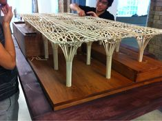 Structures Model - Haesley Nine Bridges Golf Club House by Shigeru Ban Architects (Korea Countless sleepless nights, my best friend and I working ourselves to the bone and this is the result. Parametric Architecture, Wooden Architecture, Parametric Design, Organic Architecture, School Architecture, Architecture Details, Tree Structure, Bamboo Structure, Landscape Structure