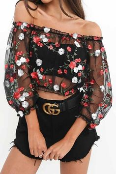 Florals Embroidery Off Shoulder  Sheer Crop Blouse Top
