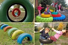 Jungle gyms for children's playgrounds can be very expensive to have installed, use recycled tyre's, because they are so durable they can also be safer. #tyresuppliers #tyreservices #recycling