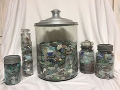 Old canning jars filled with sea glass treasures!