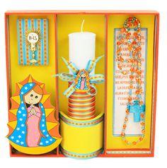 Vela y rosario para primera comunión. Amarillo / Naranja