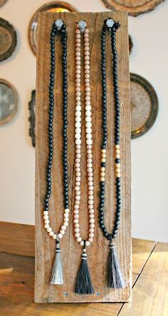 Neat display prop for long necklaces. Jewelry display idea…