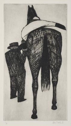© John Brack ~ Mounting ~ 1956 Drypoint etching at Olsen Irwin Gallery Sydney Australia Australian Painters, Australian Artists, Drypoint Etching, Famous Artwork, Kids Artwork, Art Base, Art Auction, Moose Art, Sketches