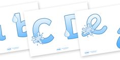 Twinkl Resources >> Display Lettering & Symbols (Water)  >> Thousands of printable primary teaching resources for EYFS, KS1, KS2 and beyond! display lettering, water, display letters, alphabet display, letters to cut out, letters for displays, coloured letters, coloured display, coloured alphabet,