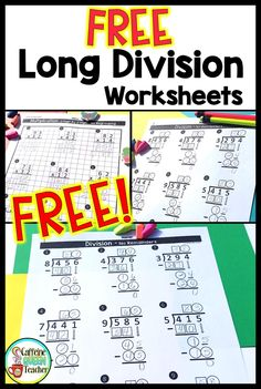 Free long division math worksheets - differentiated to suit individual students' needs! Scaffold learning to individualize for each student. Great for grade, grade, grade, and special education students. Long Division Worksheets, Teaching Long Division, Free Math Worksheets, Teaching Math, Long Division Activities, 4th Grade Math Worksheets, Teacher Worksheets, Kindergarten Math, Teacher Resources