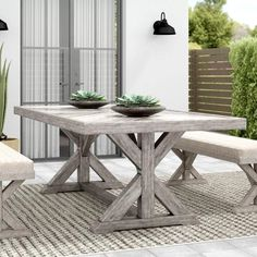 33 Inspiring Outdoor Dining Table Design Ideas - When it comes to choosing outdoor dining tables, your personal taste and your budget will have an impact on the choices you make. There are so many va. Concrete Dining Table, Dining Table Design, Wooden Dining Tables, Patio Dining, Outdoor Dining, A Table, Outdoor Decor, Dining Sets, Dining Room