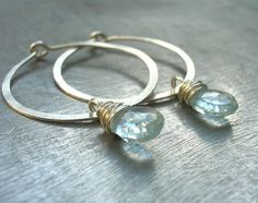 Aquamarine Hammered Sterling Silver Hoop Earrings by vivart70, $34.00