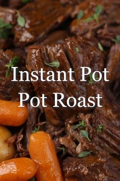 Juicy and tender Instant Pot Pot Roast made with potatoes, carrots, and gravy is a great family friendly dinner recipe in one pot. Juicy and tender Instant Pot Pot Roast recipe made with potatoes, carrots, and gravy is a great family friendly dinner idea. Pot Roast Recipes, Crockpot Recipes, Healthy Recipes, Chicken Recipes, One Pot Recipes, Chuck Roast Recipes, Beef Brisket Recipes, Game Recipes, Healthy Desserts