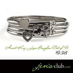 """Heart Key Love Bangles (Set of 4) From Regal      All the symbols of love brighten up this set of bangle bracelets. Featuring a heart with glass rhinestones, lock and key and the word LOVE, these bracelets are fun and whimsical. (2-1/2"""" inner diameter)  Product Number - JC1022"""