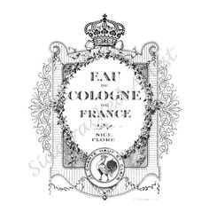 INSTANT Download Vintage French Perfume Label by sidetrackedartist, $2.00