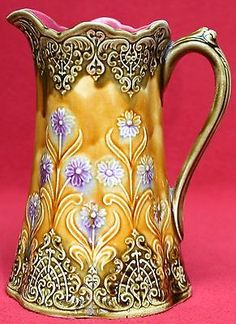 RARE AUTHENTIC ANTIQUE FRENCH ONNAING MAJOLICA LACE & FLOWERS PITCHER C1880
