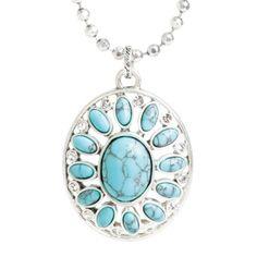Kort A smykke med stort anheng. Nydelige steiner i delikat marmorert turkis. Swarovski-steiner i ytterkant. 42 cm med mulighet for forlengelse. Matchende ring i kolleksjonen!