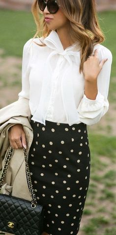 Womens fashion | #spring #style | Bows And Polka Dots Classic Chic | Lace & Locks