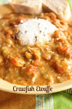 cajun and creole recipes Crawfish Etouffee so good you would think you were in New Orleans! Crawfish Etoufee Recipe, Crawfish Recipes, Crawfish Etouffee, Cajun Recipes, Seafood Recipes, Cooking Recipes, Haitian Recipes, Donut Recipes, Juicing