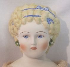 "17""  Beautiful Emma Clear Antique Repro China Head Doll Earrings Brocade Dress  #EmmaClear"