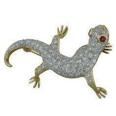 Playful Stylish and Elegant Burdeen's Ruby Diamond Gold Salamander Pin