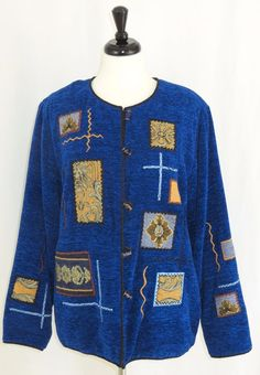 Indigo Moon Chenille Tapestry Jacket Lined Glass Buttons Blue Gold Brown Black L #IndigoMoon #BasicJacket #Business