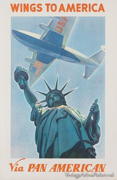 Vintage Pan Am First Class Menu Watercolor 100th Anniversary Statue Of Liberty