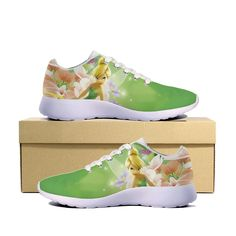 Tinkerbell shoes oh my! Tinkerbell Shoes, Tinkerbell And Friends, Peter Pan And Tinkerbell, Disney Fairies, Tinkerbell Disney, Disney Shoes, Disney Jewelry, Cute Shoes, Me Too Shoes