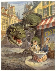 A-funny-illustration-by-Peter-de-Seve-of-a-T-Rex-getting-popped-with-a-champagne-cork.jpg (1280×1600)