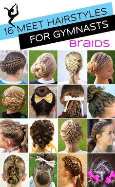 16 Gymnastics Hairstyles (braids edition) for Competition Day from some of the…
