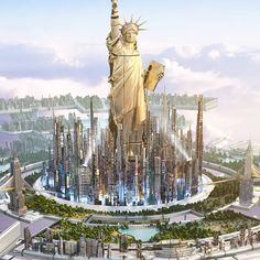 DreamState festival in New York & Melbourne - Yvan Feusi & James Hilkim Fantasy City, Fantasy Castle, Fantasy Places, Sci Fi Fantasy, Fantasy World, Futuristic City, Futuristic Architecture, Architecture Art, Sci Fi City