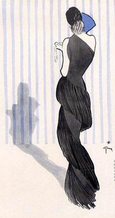 Fashion Illustration by René Gruau, Jeanne Lanvin evening gown. Jacques Fath, Pierre Balmain, Elsa Schiaparelli, Dior Fashion, Fashion Art, Christian Lacroix, Fashion Sketchbook, Fashion Drawings, Fashion Illustrations