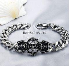 Edelstahl Armband 3 Totenkopf Schädel Partnerarmband Panzerarmkette Modeschmuck