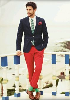 Red pants, green tie, never thought it could be done, but I like it