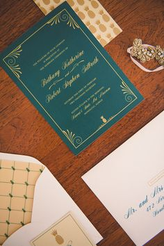 Emerald green and ivory wedding invitations with gold pineapples from Peter Loves Jane   Bit of Ivory Photography   see more on: http://burnettsboards.com/2014/03/kuu-lei-vintage-inspired-wedding-hawaii/