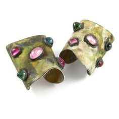 K. Brunini, tourmaline and fire-blasted silver cuffs, Body Armor collection