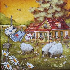 """Christine Genest ~ """"Hockey a l`honneur"""" Glue Art, Sheep Art, Arte Country, Cottage Art, Dream Art, Watercolor Print, Designs To Draw, Painting Inspiration, Painting & Drawing"""