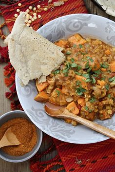 Ethiopian Sweet Potato and Lentil Wat with Injera Flatbread - Vegan Recipe